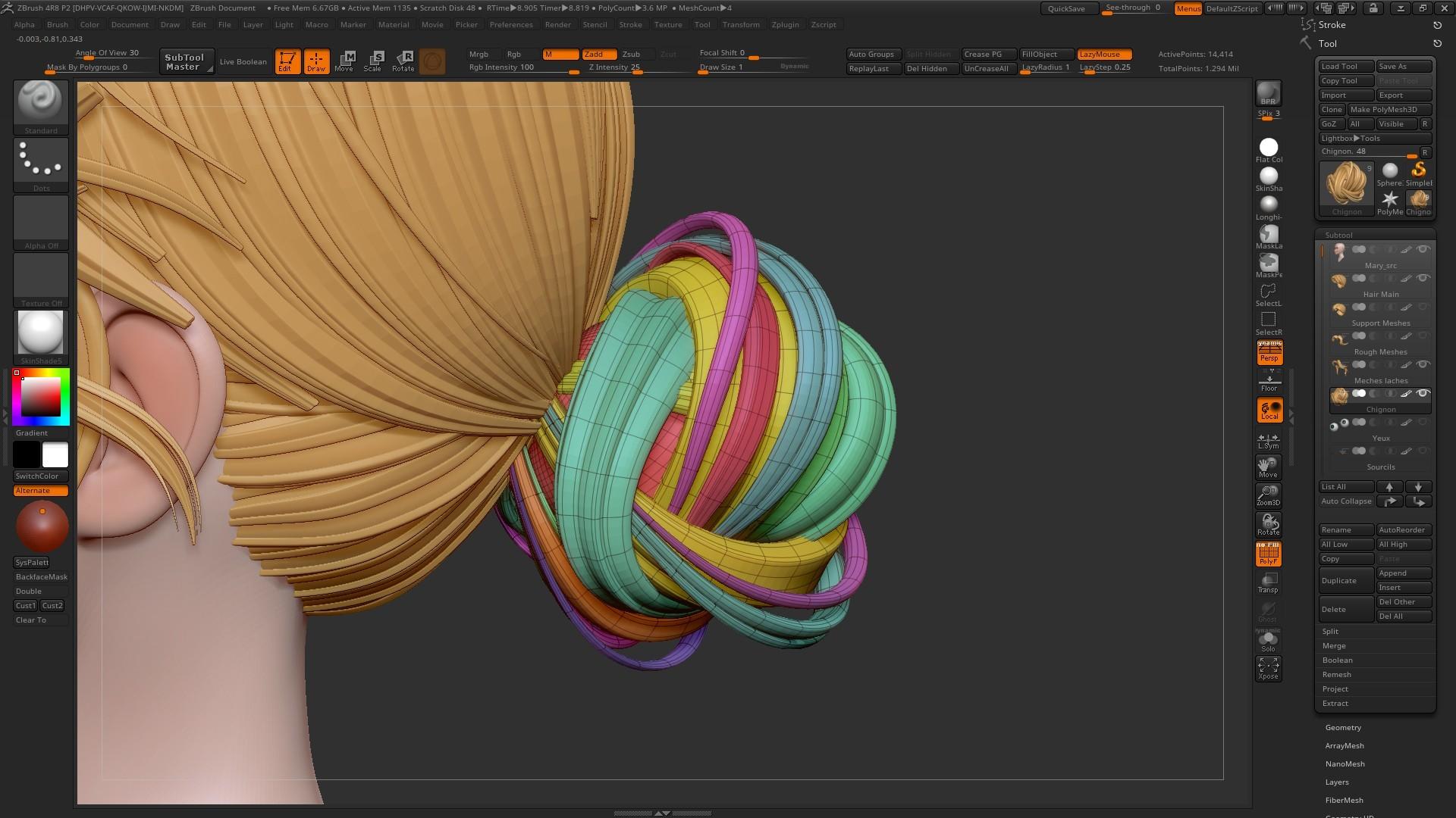 Zbrush tipzzz. Zbruhs4 hairwave modeling #zbrush #tutorial.