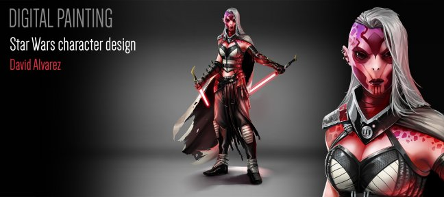 Video Tutorial Photoshop Digital Painting tutorial  : Star Wars character design Photoshop